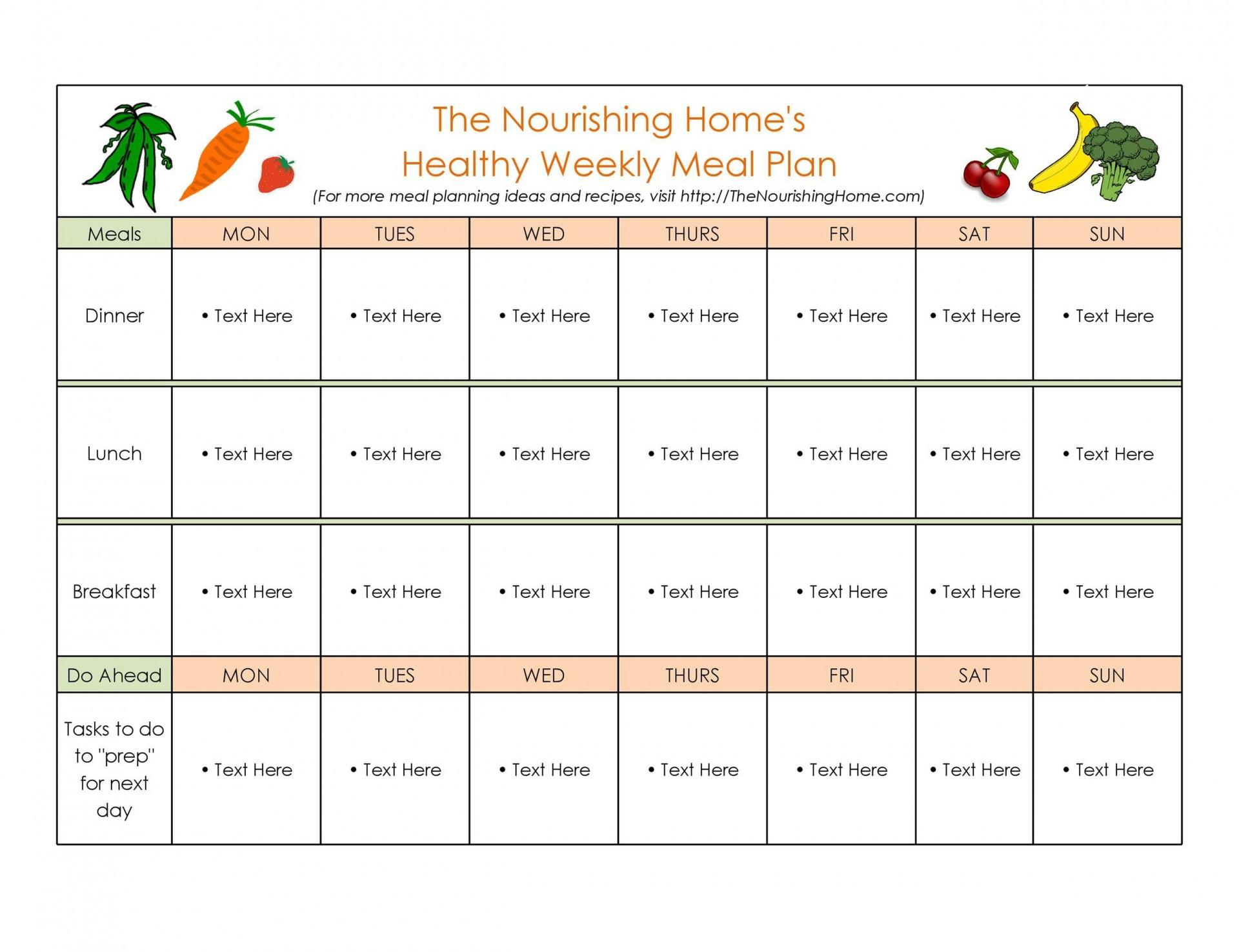 006 Fantastic Weekly Meal Plan Example Sample  Examples 1 Week Template One1920