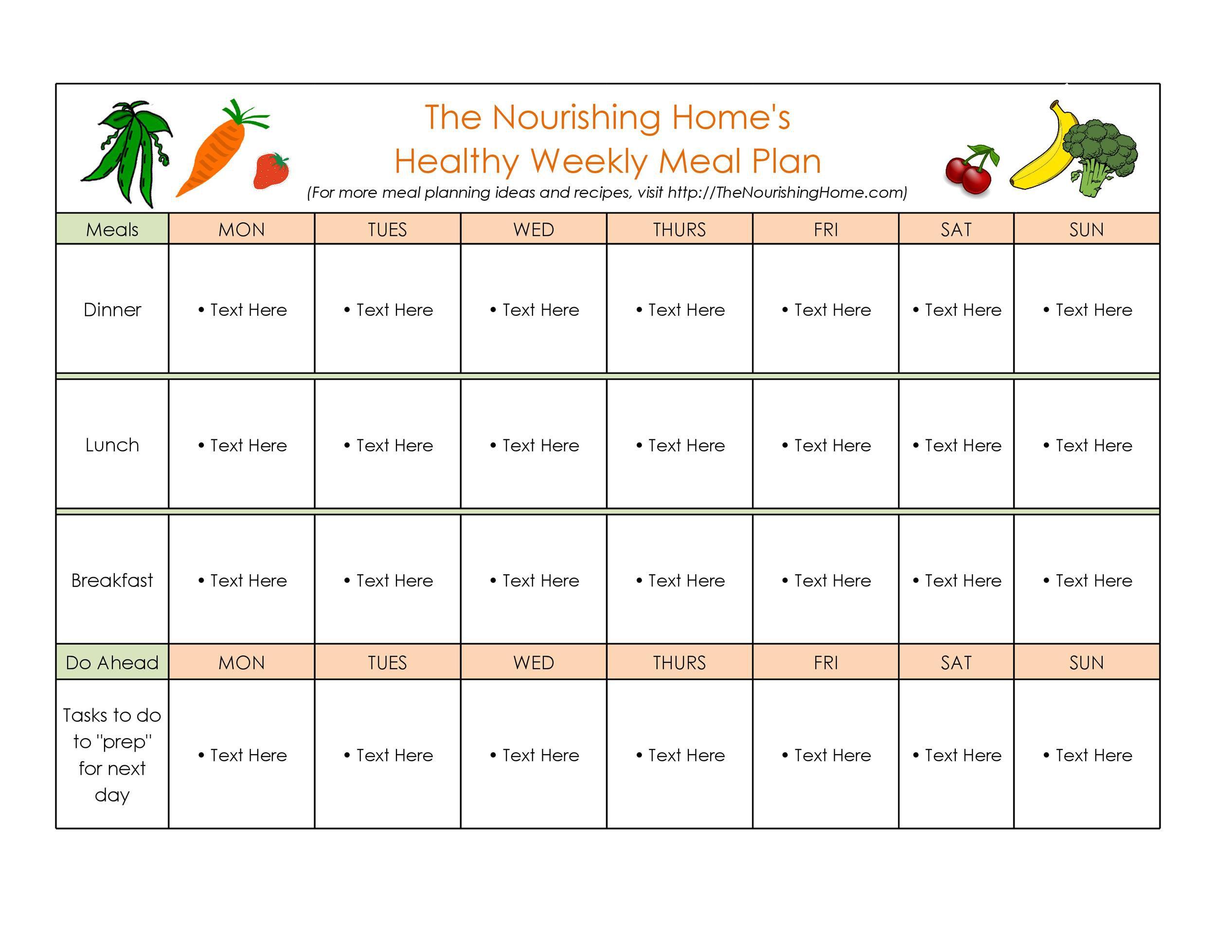 006 Fantastic Weekly Meal Plan Example Sample  Examples 1 Week Template OneFull