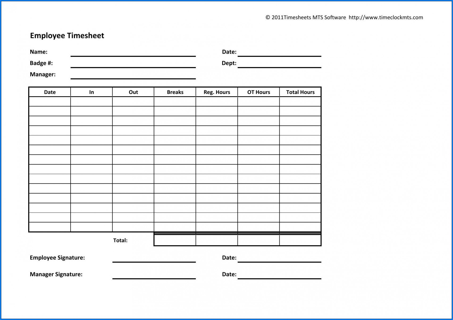006 Fascinating Employee Time Card Sheet High Definition  Template Free Excel1920