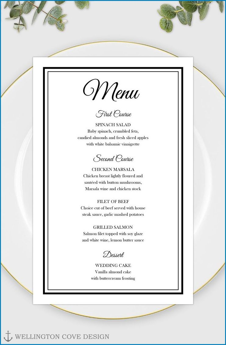 006 Fascinating Free Printable Menu Template Design  For Dinner Party FamilyFull