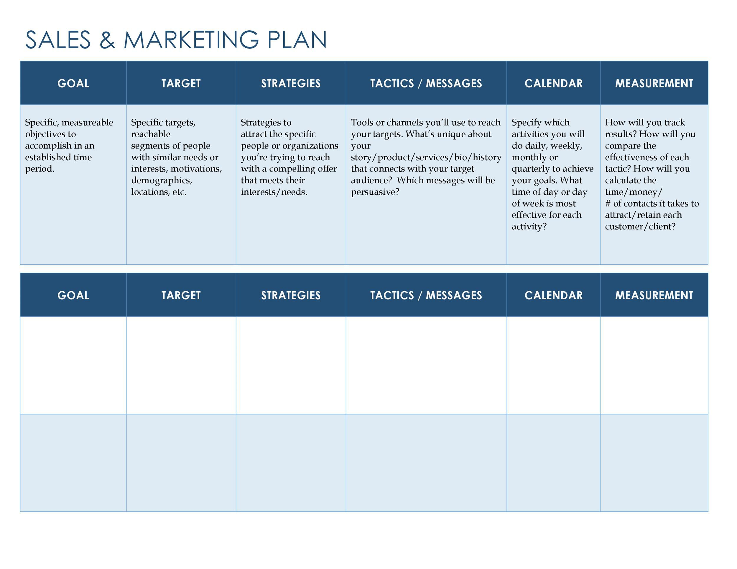 006 Fascinating Free Sale And Marketing Busines Plan Template Highest Clarity Full