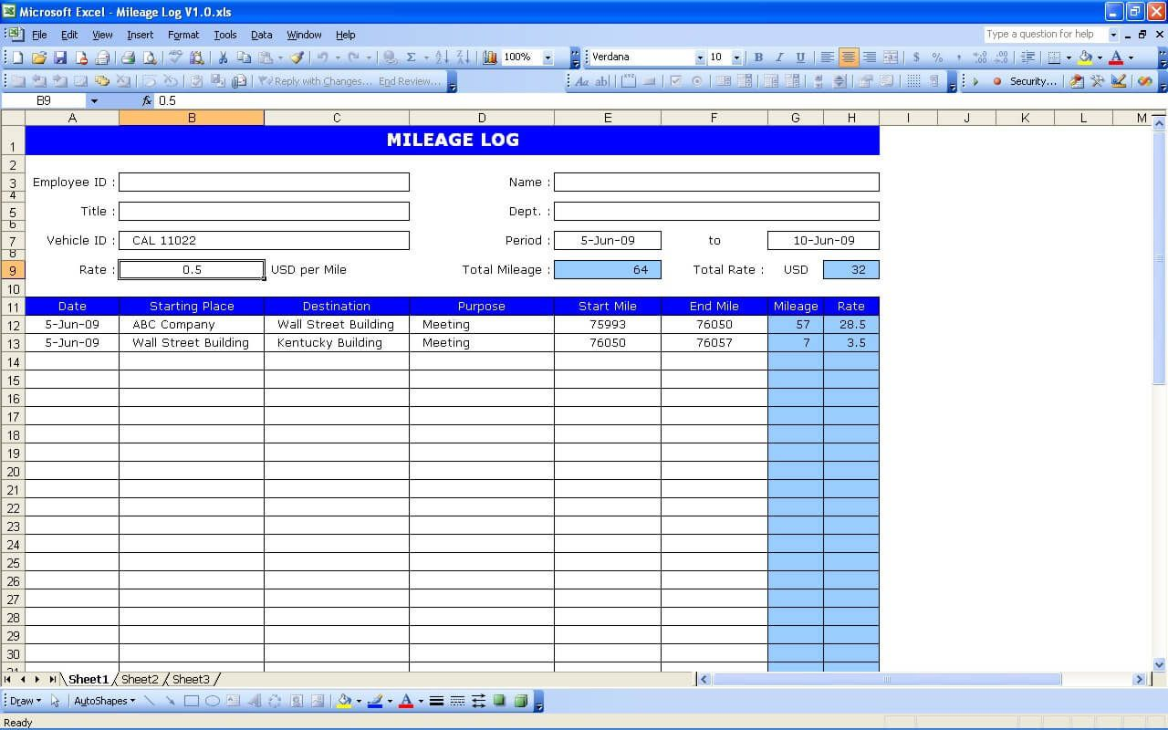 006 Fascinating Mileage Tracking Excel Template Design Full
