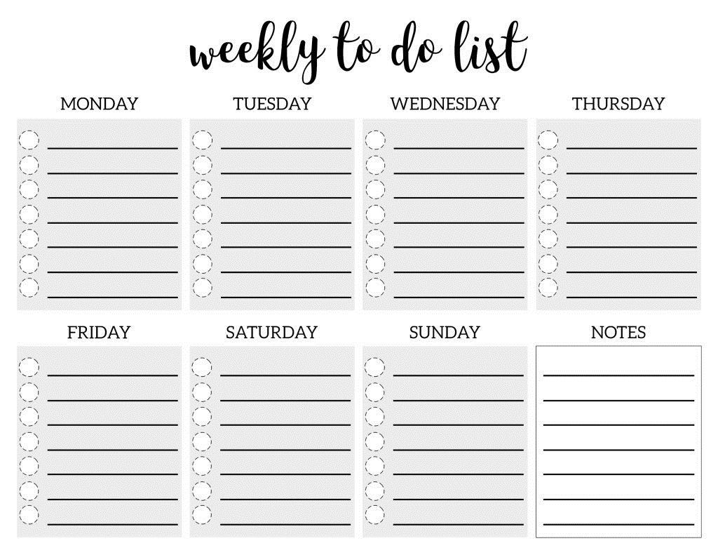 006 Fascinating Weekly Todo List Template Picture  To Do Pinterest Task Excel Daily PdfFull