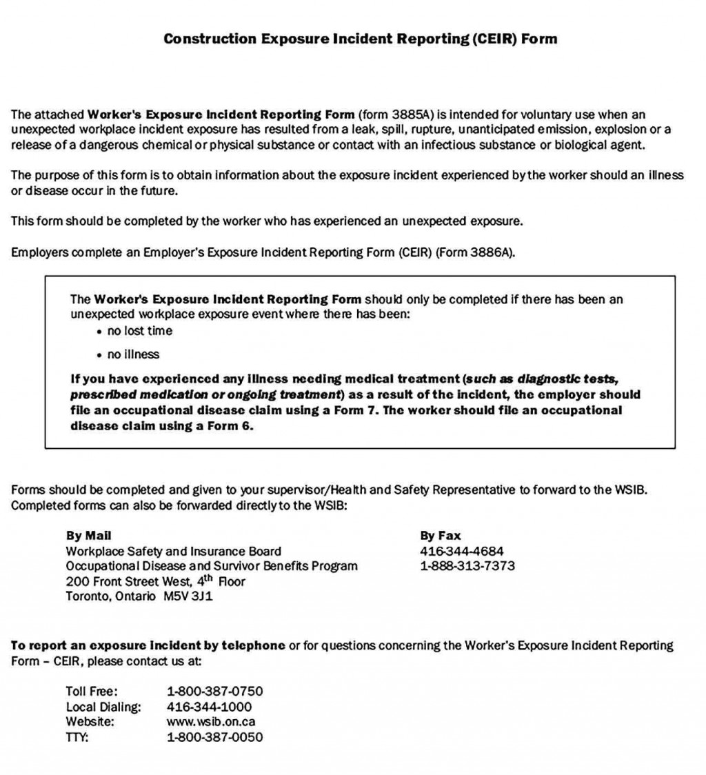 006 Fascinating Workplace Incident Report Template Ontario High Definition  FormLarge