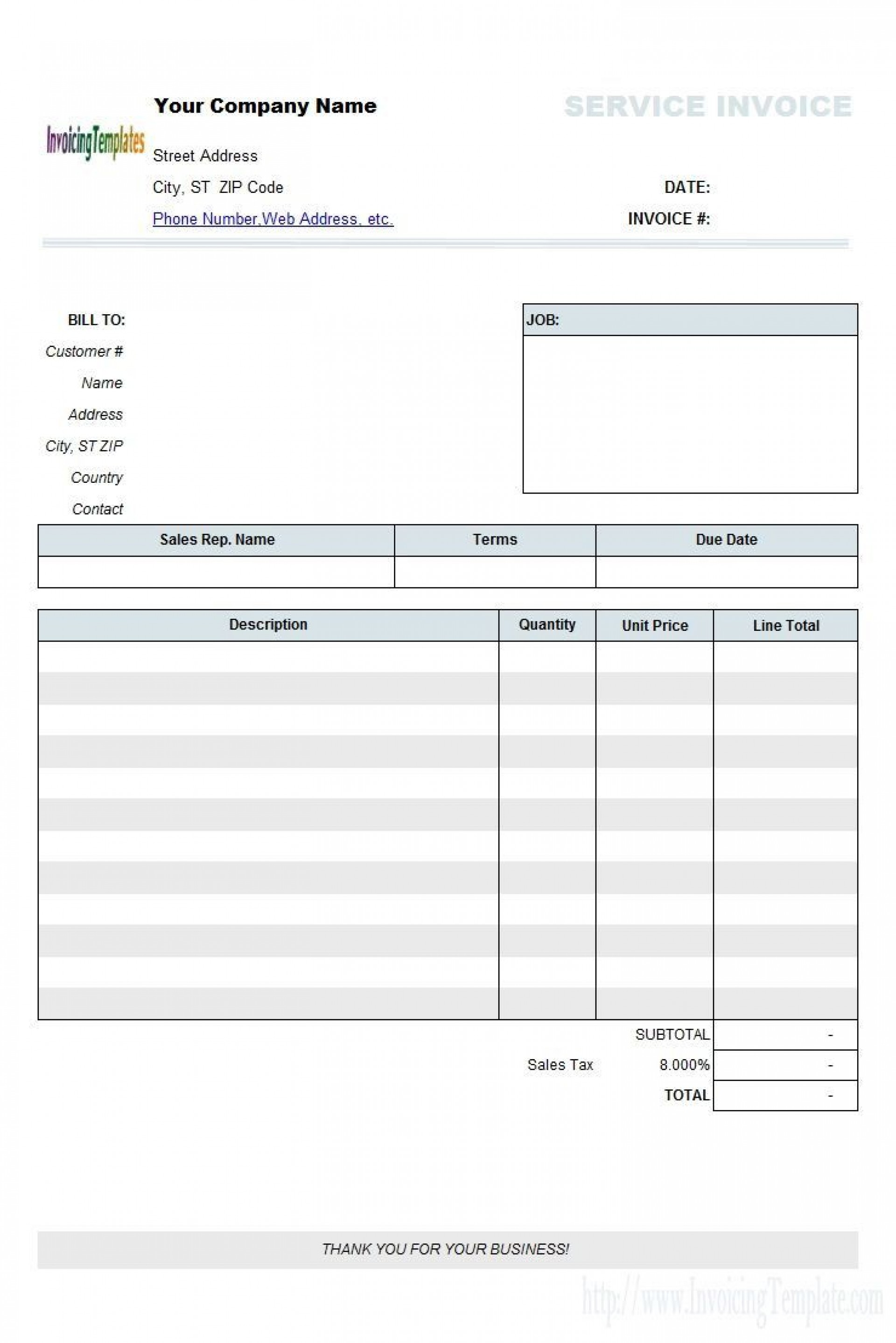 006 Fearsome Blank Invoice Template Excel Highest Quality  Free Download Receipt1920