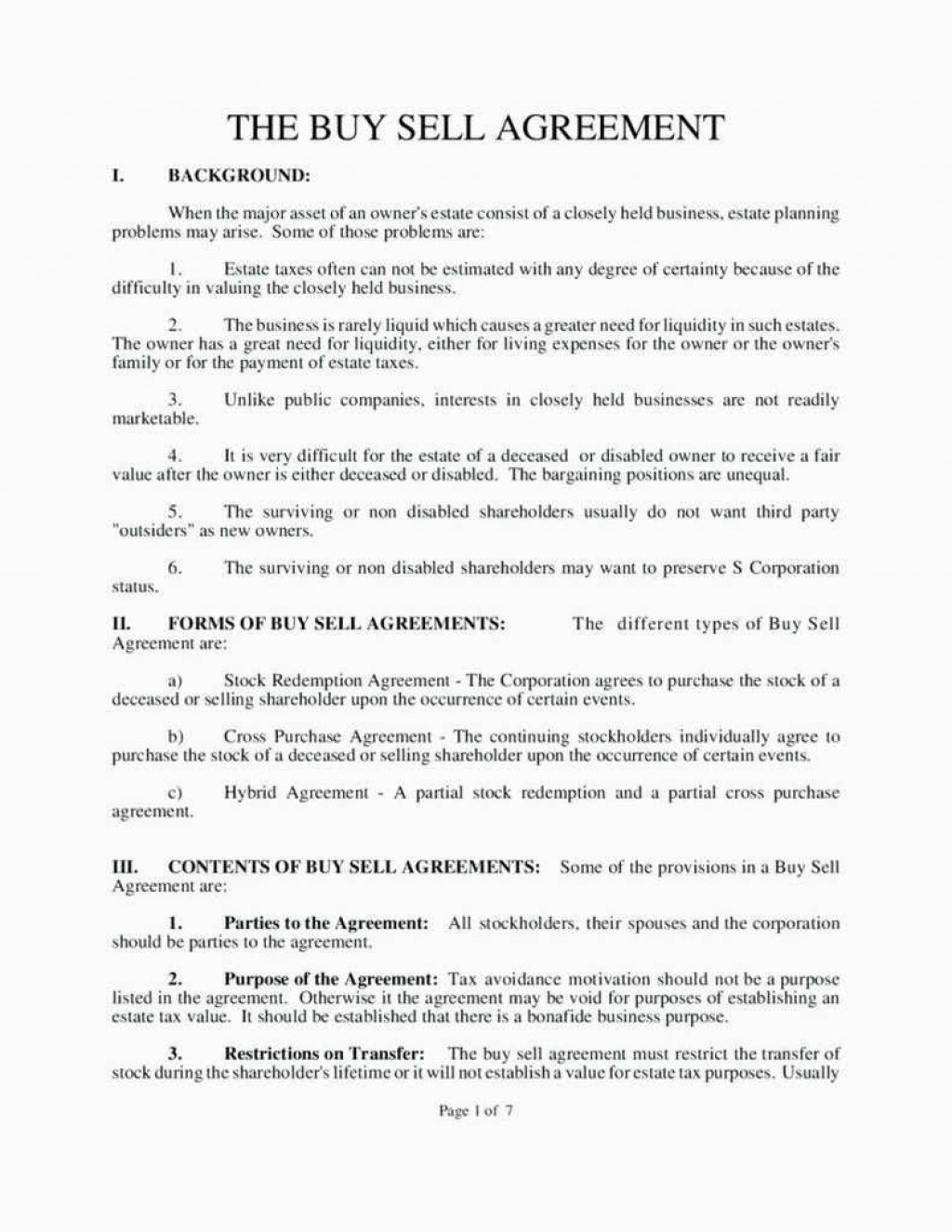 006 Fearsome Buy Sell Agreement Llc Template Free High Resolution Large