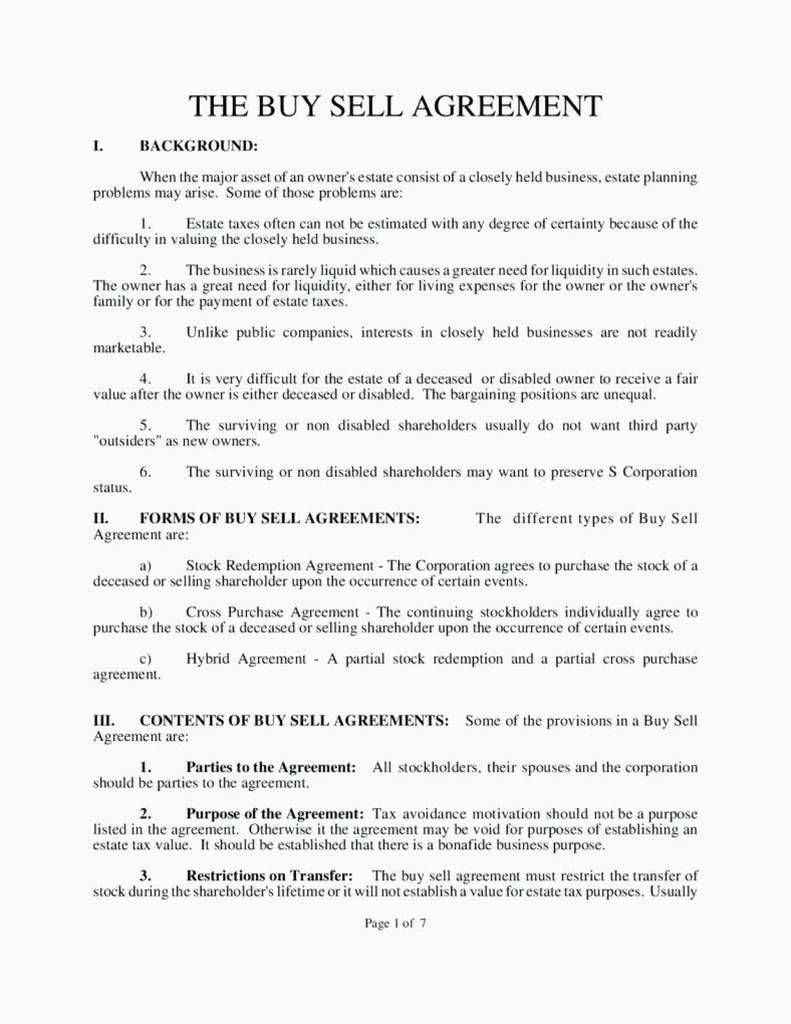 006 Fearsome Buy Sell Agreement Llc Template Free High Resolution Full