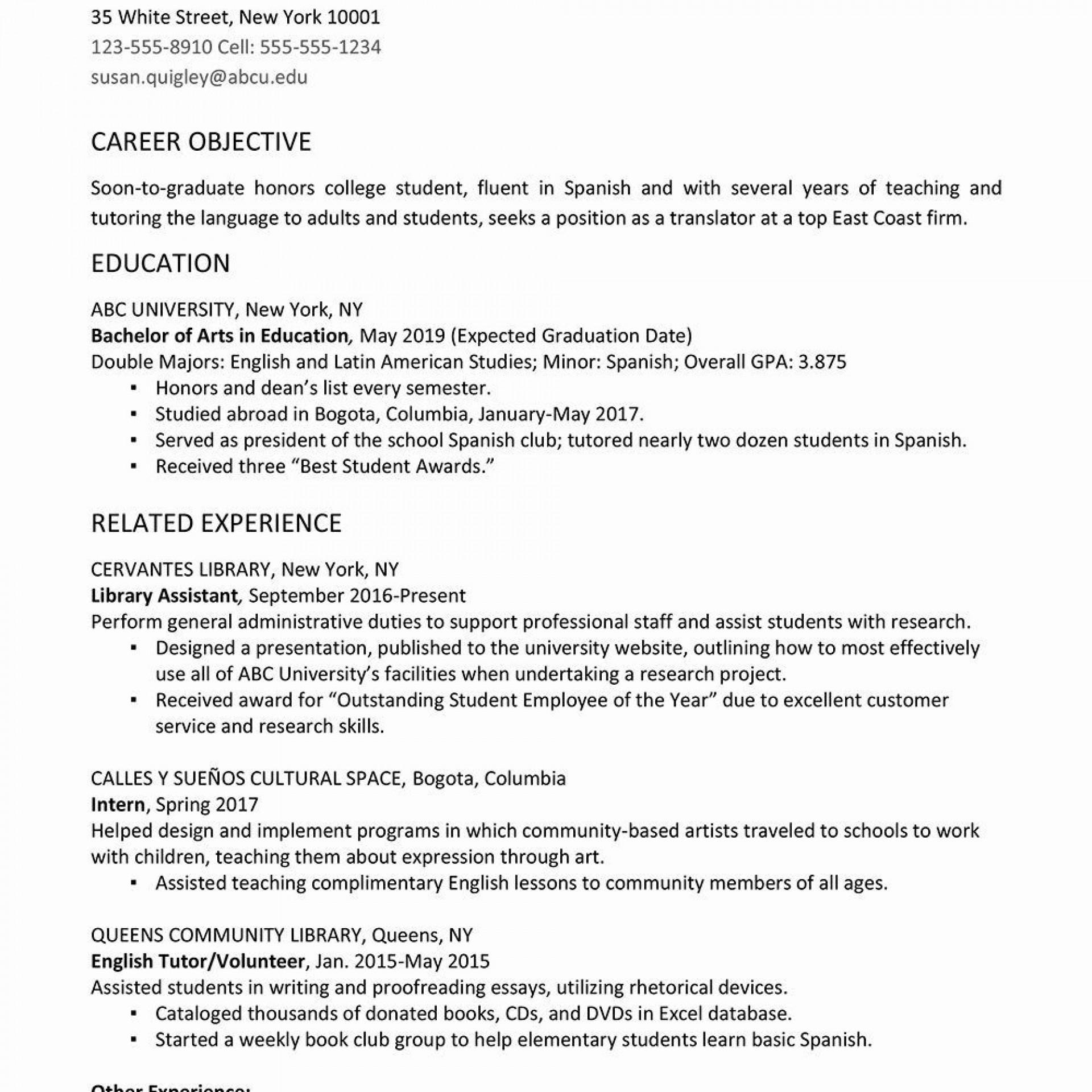 006 Fearsome College Graduate Resume Template Highest Quality  Templates Grad Example Recent Objective1920