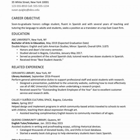 006 Fearsome College Graduate Resume Template Highest Quality  Student Example 2020 New 2018480