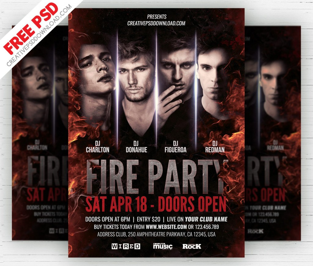 006 Fearsome Free Party Flyer Psd Template Download Highest Quality  - Neon GlowLarge