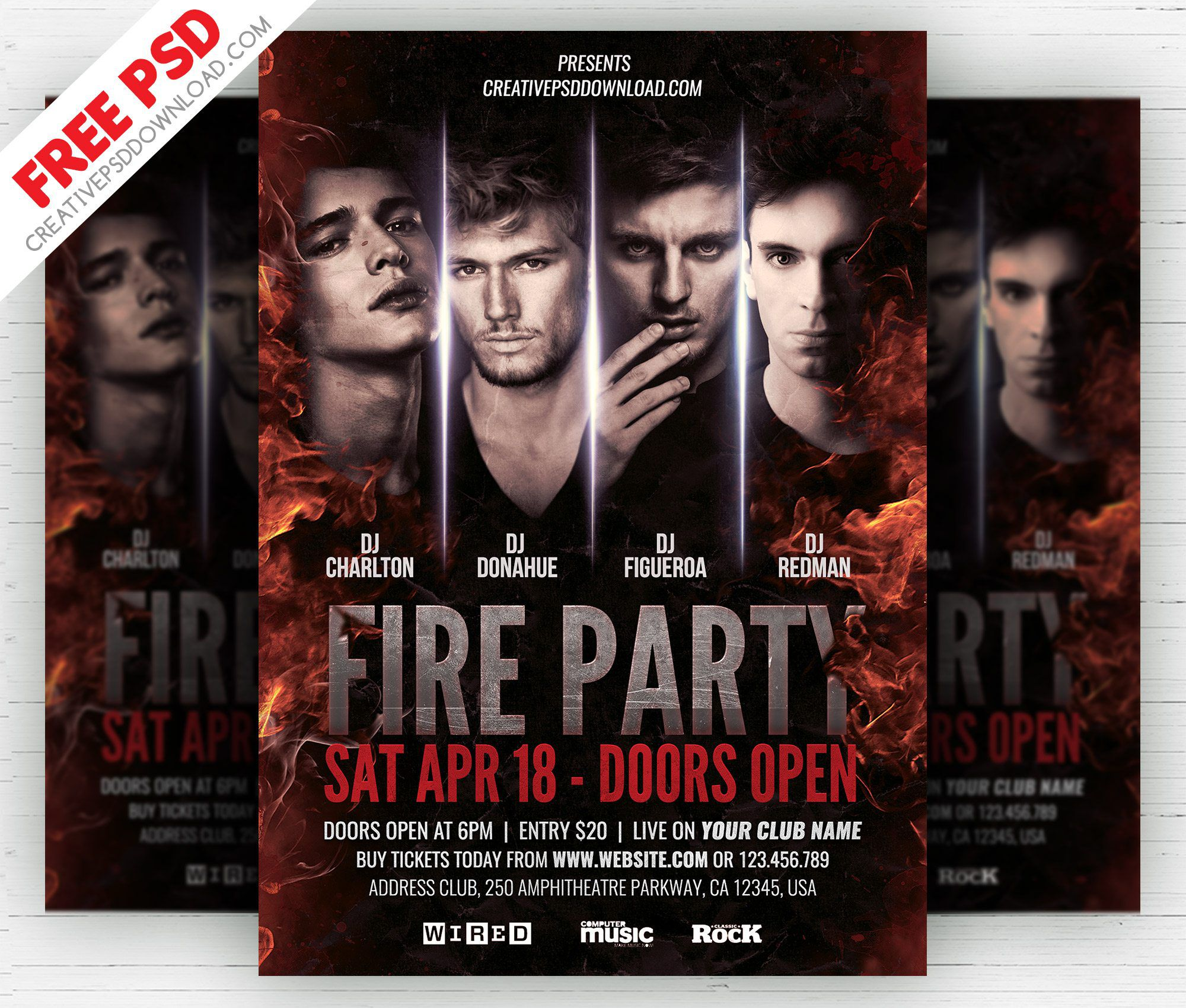006 Fearsome Free Party Flyer Psd Template Download Highest Quality  - Neon GlowFull