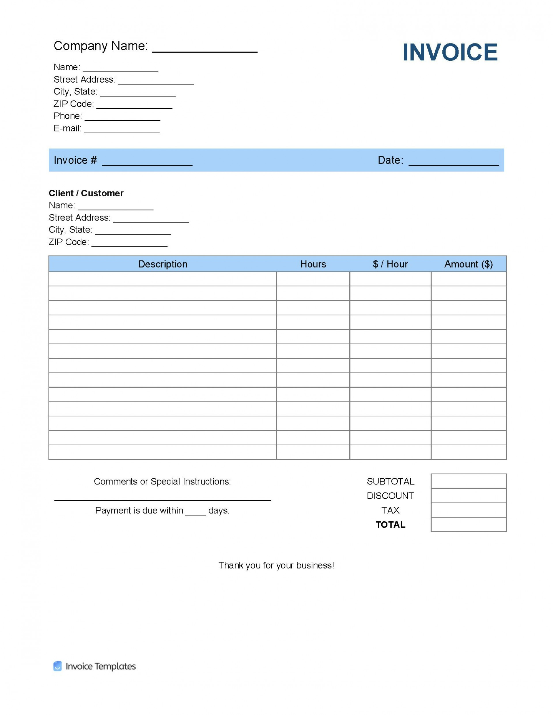006 Fearsome Free Service Invoice Template Inspiration  Microsoft Word Printable Form1920