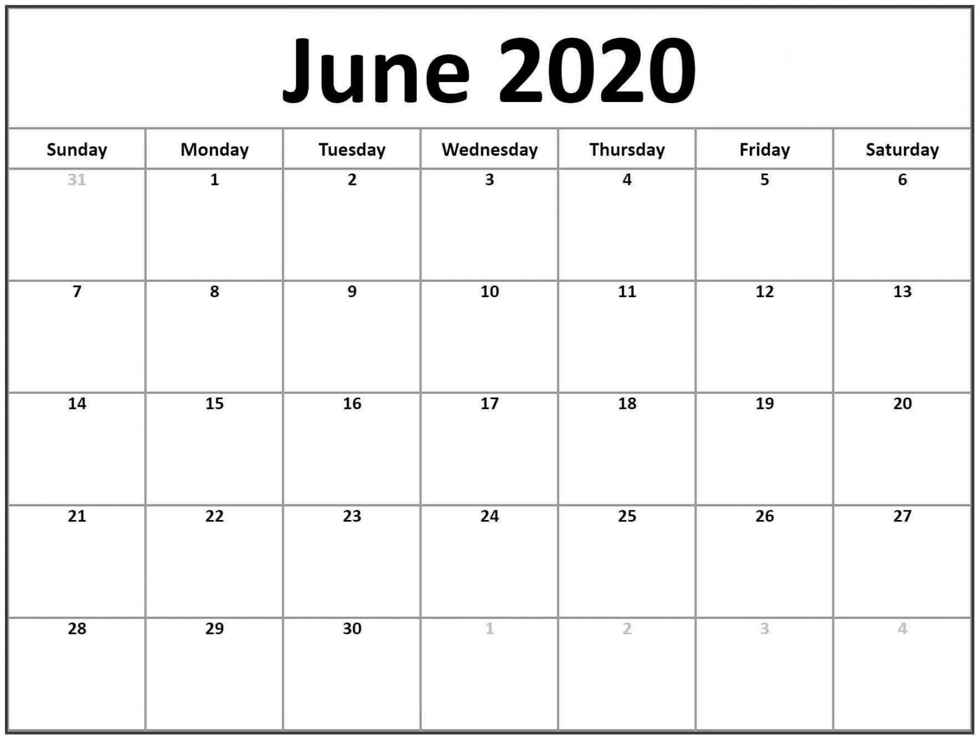 006 Fearsome June 2020 Monthly Calendar Template Example 1920