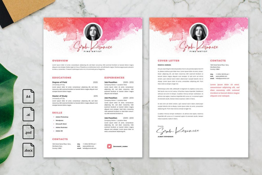 006 Fearsome Photoshop Resume Template Free Psd High Definition Large