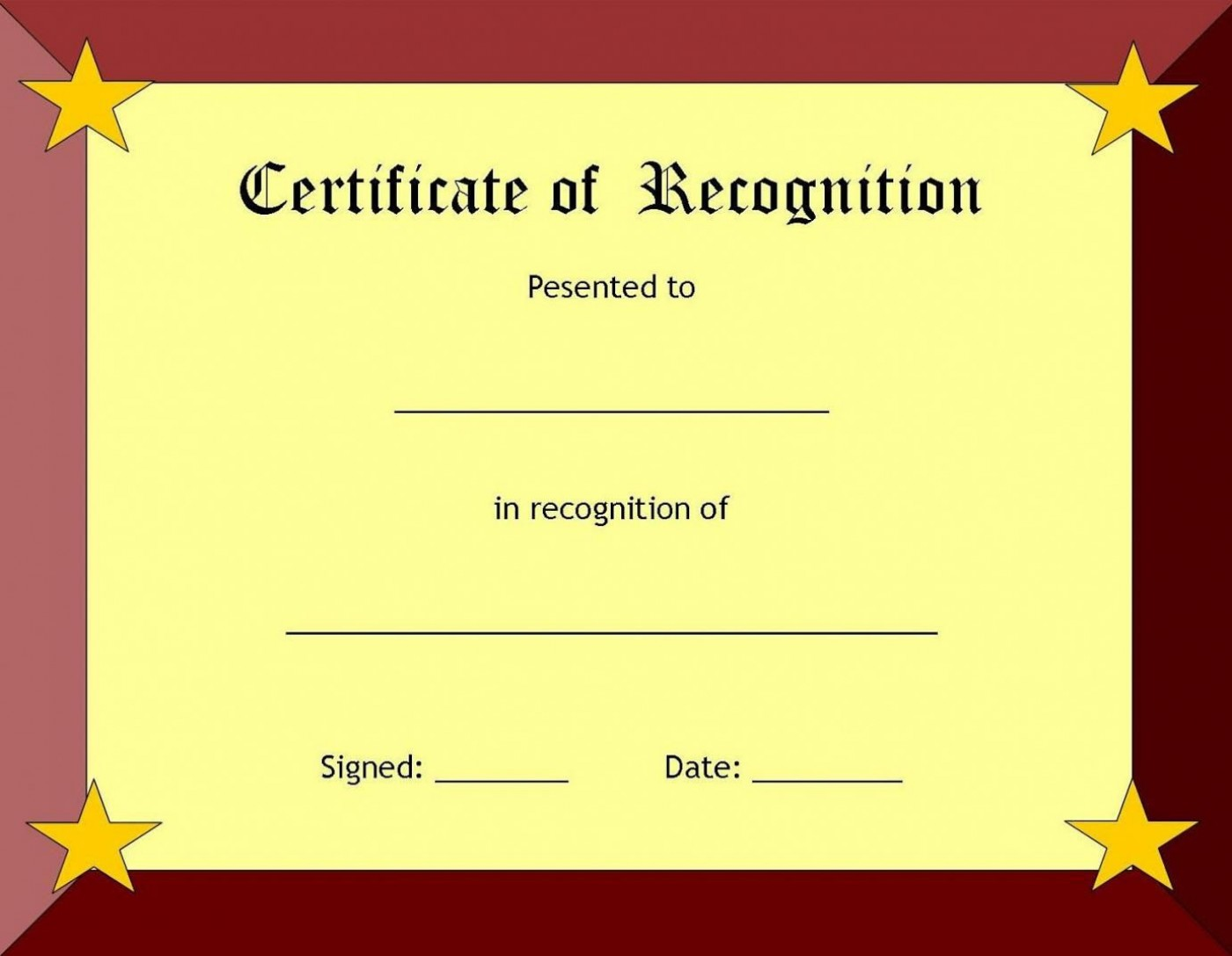 006 Fearsome Recognition Certificate Template Free Picture  Employee Award Of Download Word1400