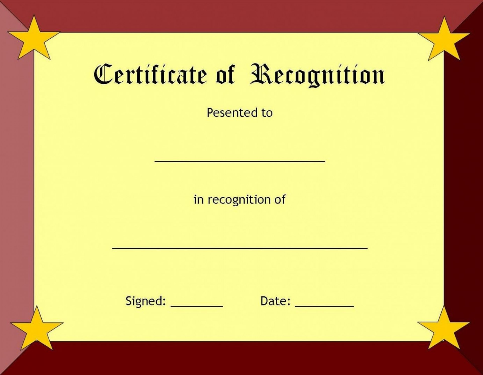 006 Fearsome Recognition Certificate Template Free Picture  Employee Award Of Download Word1920