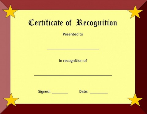 006 Fearsome Recognition Certificate Template Free Picture  Employee Award Of Download Word480