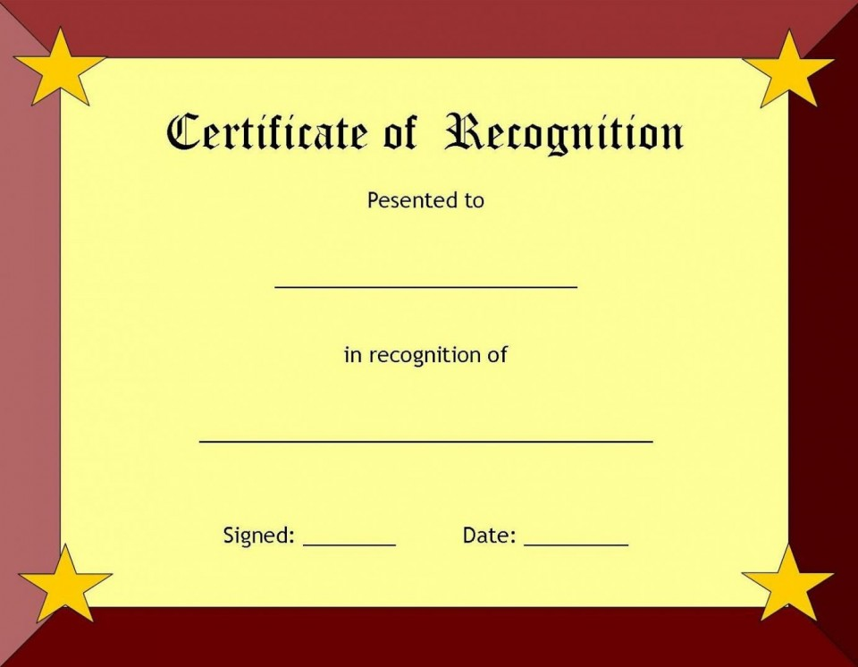 006 Fearsome Recognition Certificate Template Free Picture  Employee Award Of Download Word960