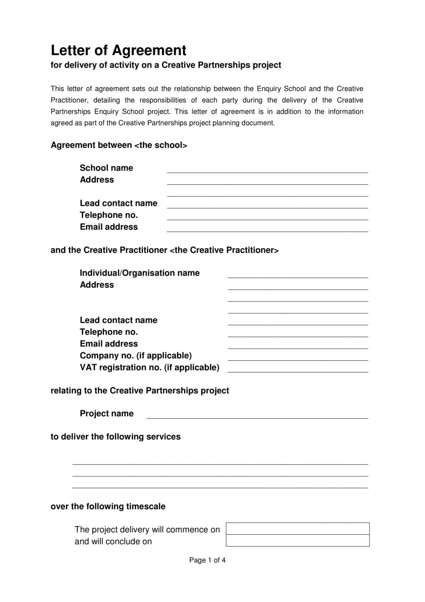 006 Fearsome Sample Letter Of Agreement Template High Def  Prepare A For In Project
