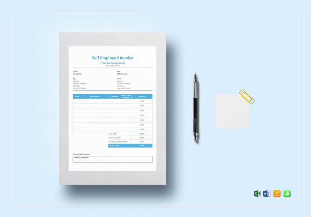 006 Fearsome Self Employed Invoice Template Excel Concept  UkLarge