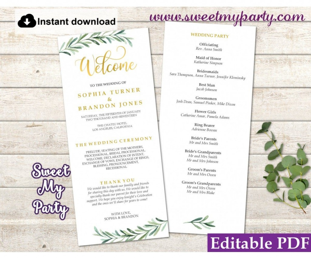 006 Fearsome Template For Wedding Program Idea  Word Free CatholicLarge