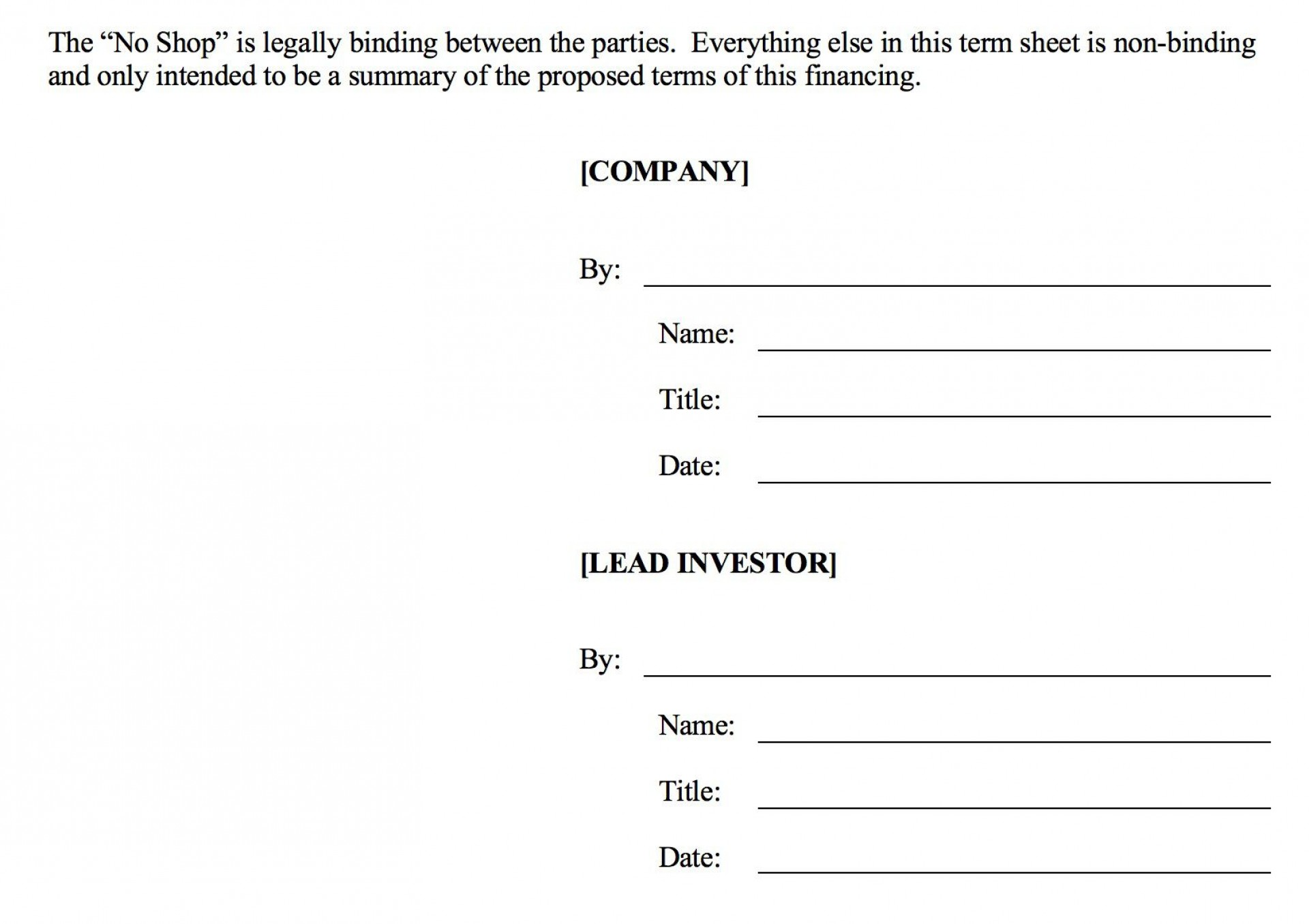 006 Fearsome Term Sheet Template Word Sample  Simple Loan Microsoft1920