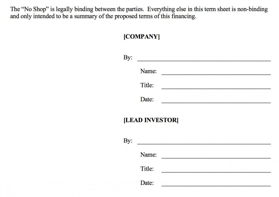 006 Fearsome Term Sheet Template Word Sample  Simple Loan Microsoft960