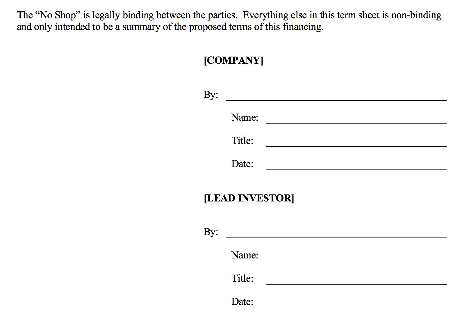 006 Fearsome Term Sheet Template Word Sample  Simple Loan MicrosoftFull