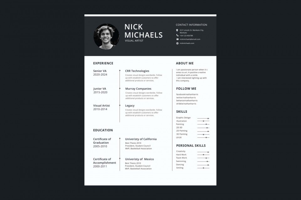 006 Formidable 1 Page Resume Template Highest Quality  One Microsoft Word Free For Fresher960