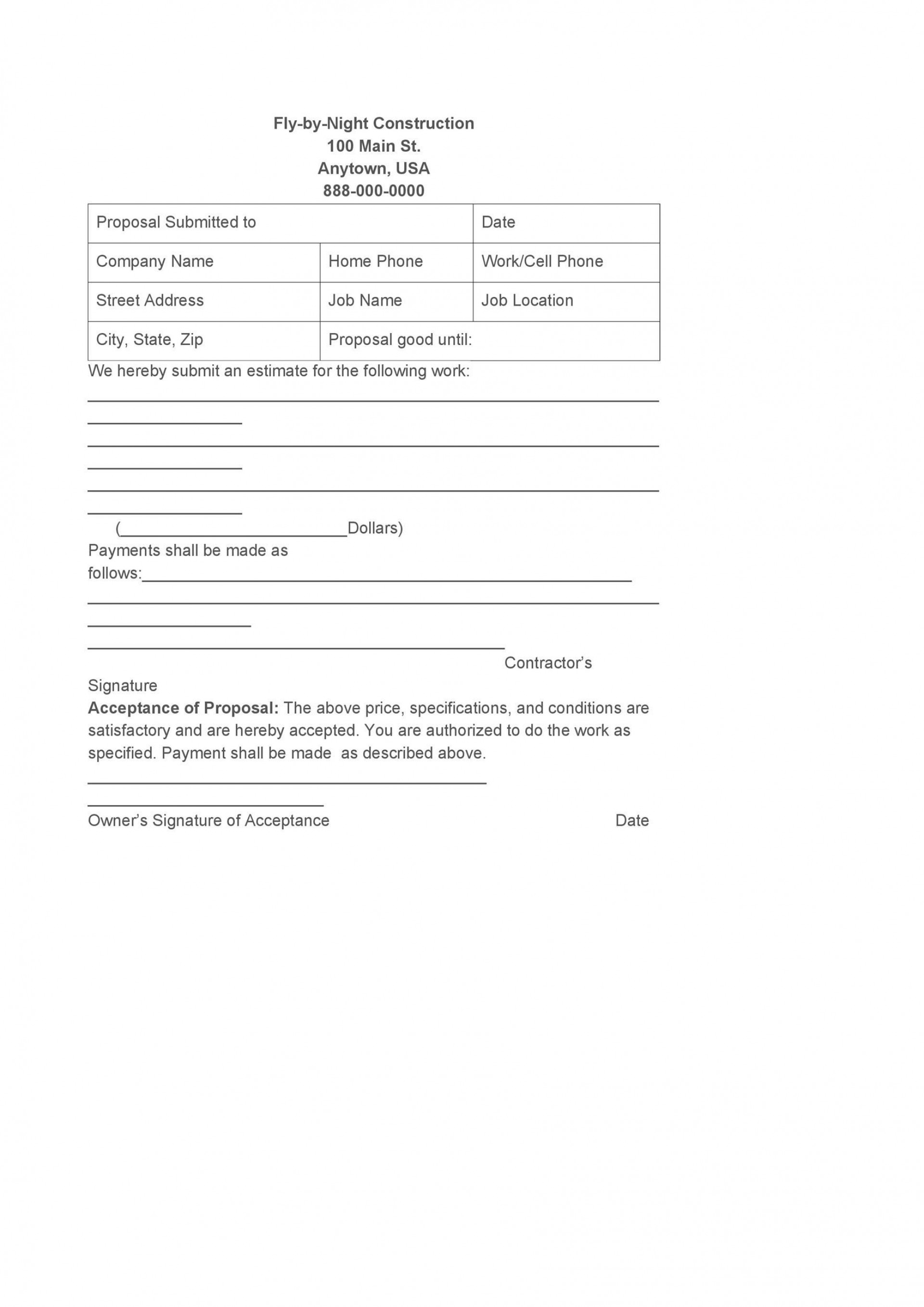 006 Formidable Contractor Proposal Template Pdf Sample  Construction Bid Upwork Free1920