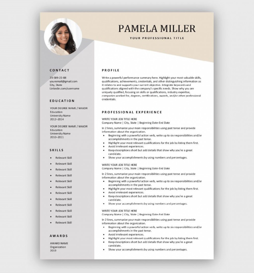 006 Formidable Download Free Resume Template Photo  Word Professional 2019 2020Large