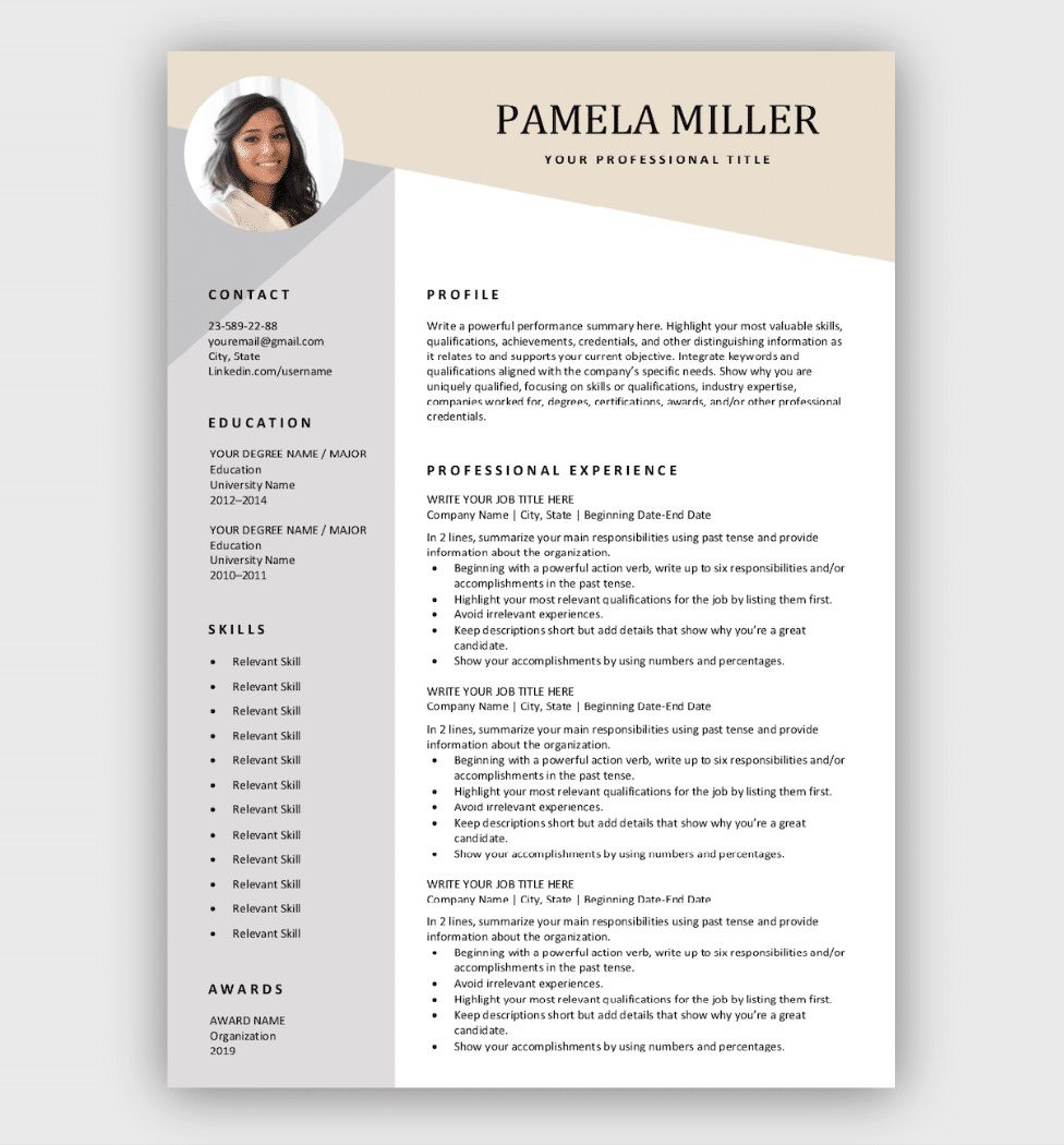 006 Formidable Download Free Resume Template Photo  Word Professional 2019 2020Full