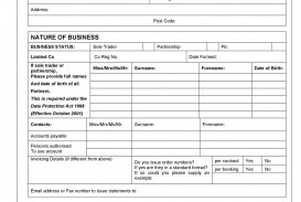 006 Formidable New Customer Account Application Form Template Image  Busines Uk Opening