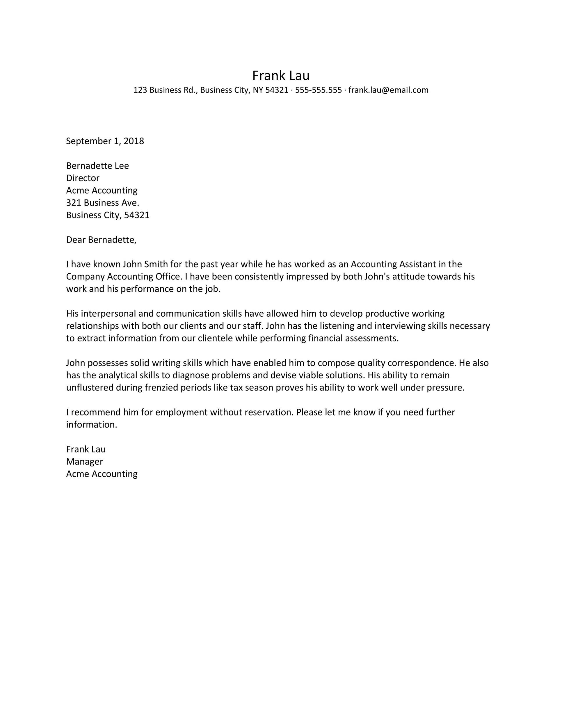Recommendation Letter Template For Job Addictionary