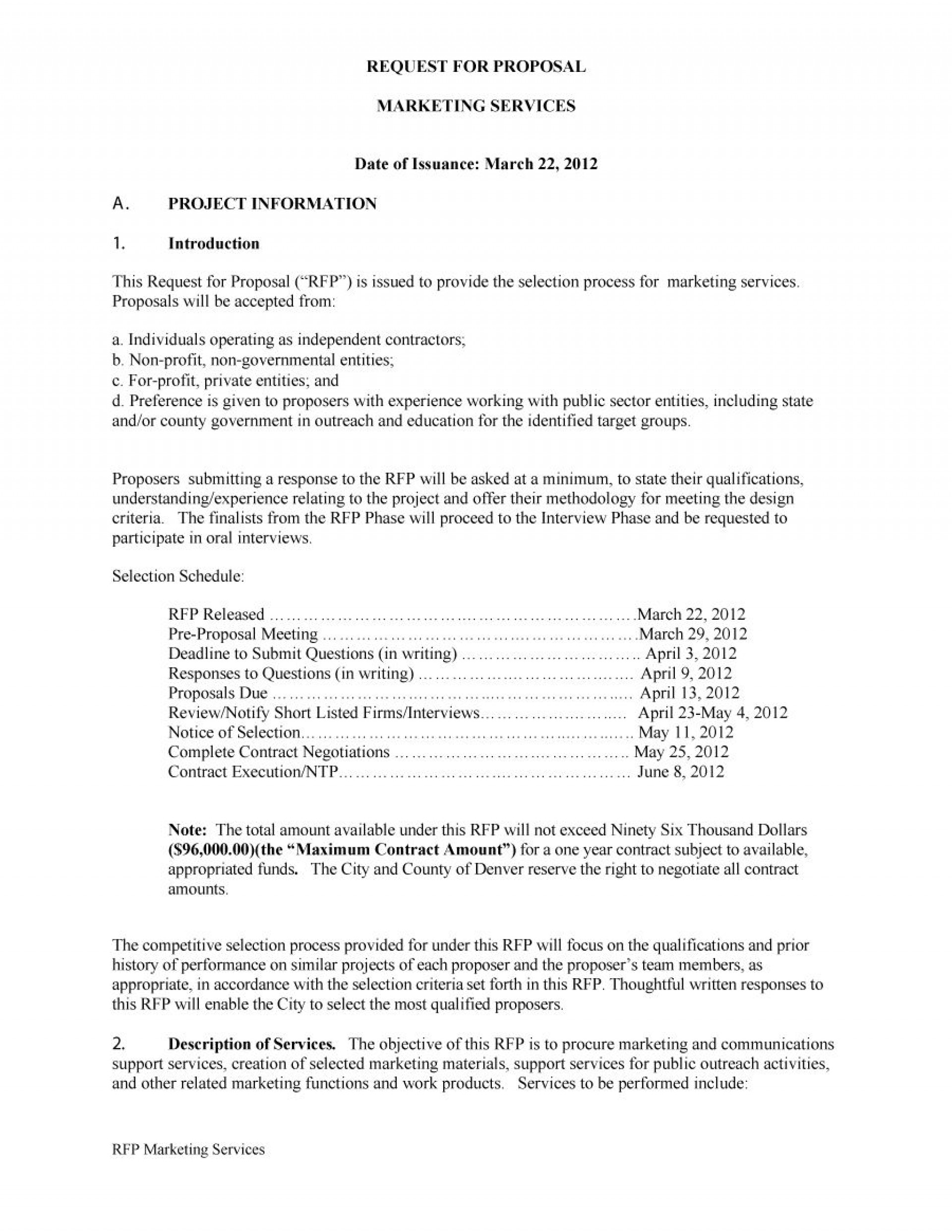 006 Formidable Request For Proposal Rfp Template Construction Sample 1920