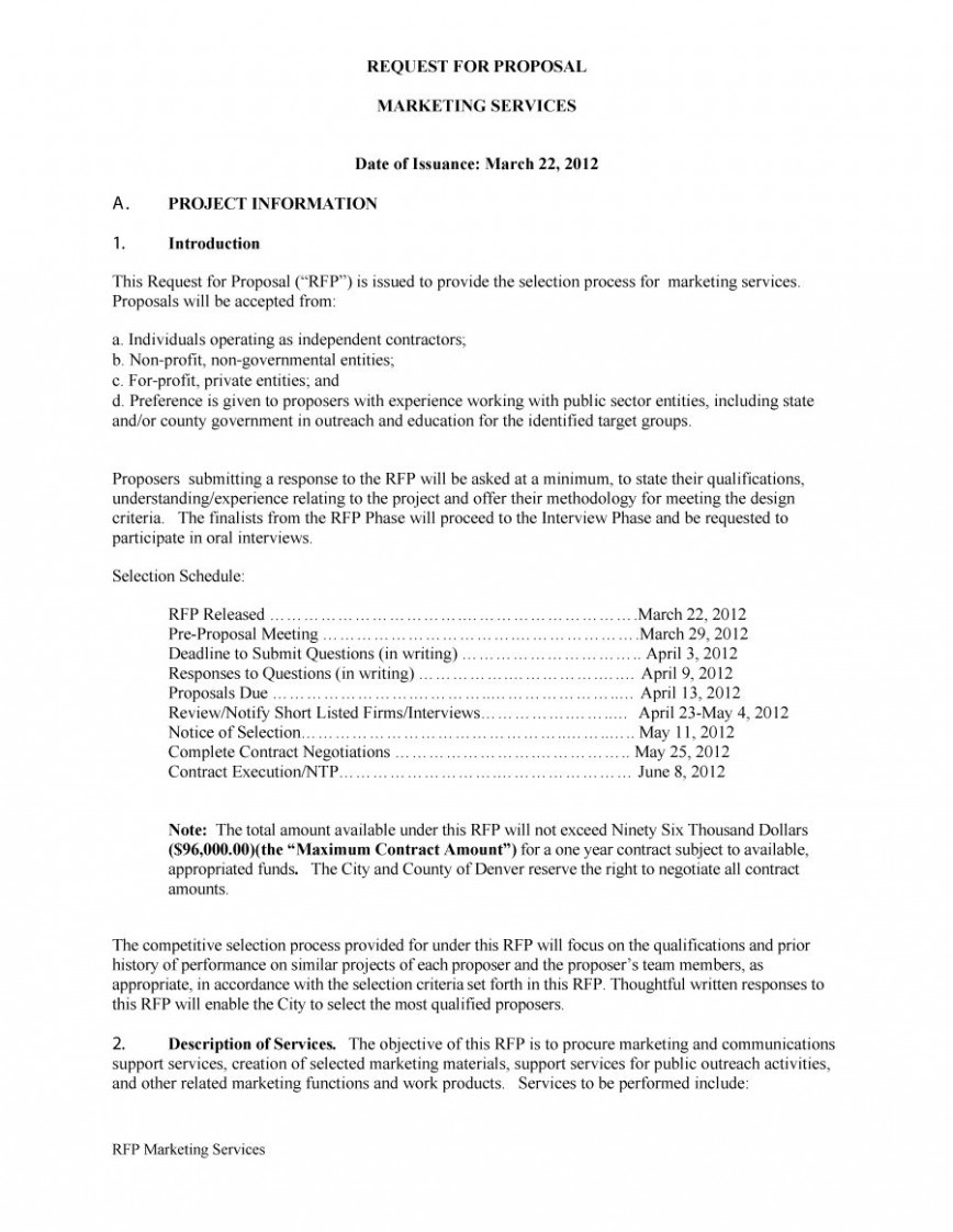 Request For Proposal Rfp Template Construction Addictionary