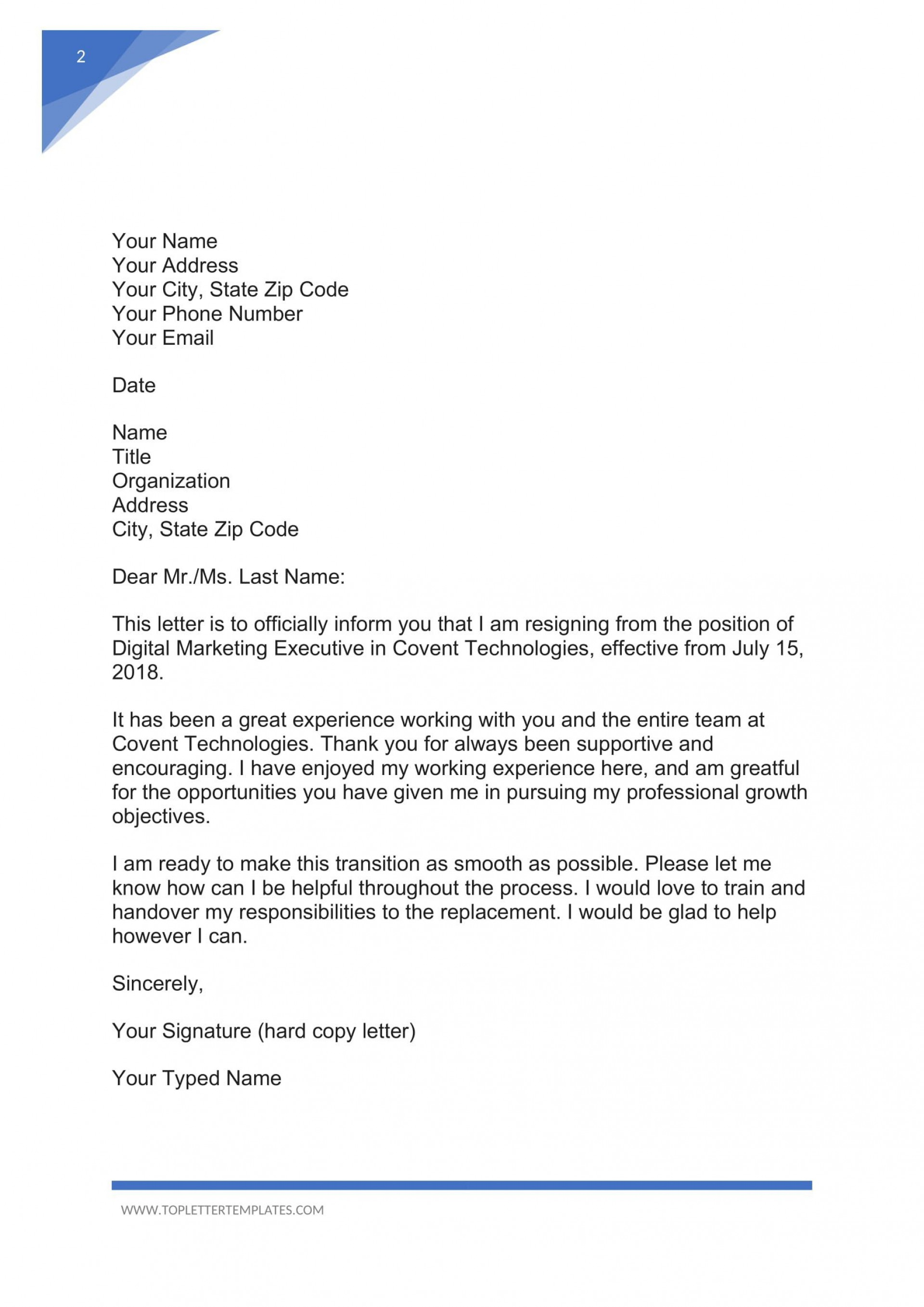 006 Formidable Sample Resignation Letter Template Email Photo 1920