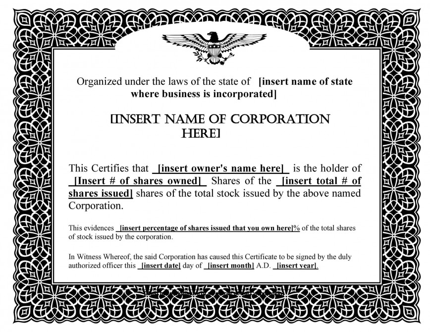 006 Formidable Stock Certificate Template Word Highest Clarity  Corporate Microsoft