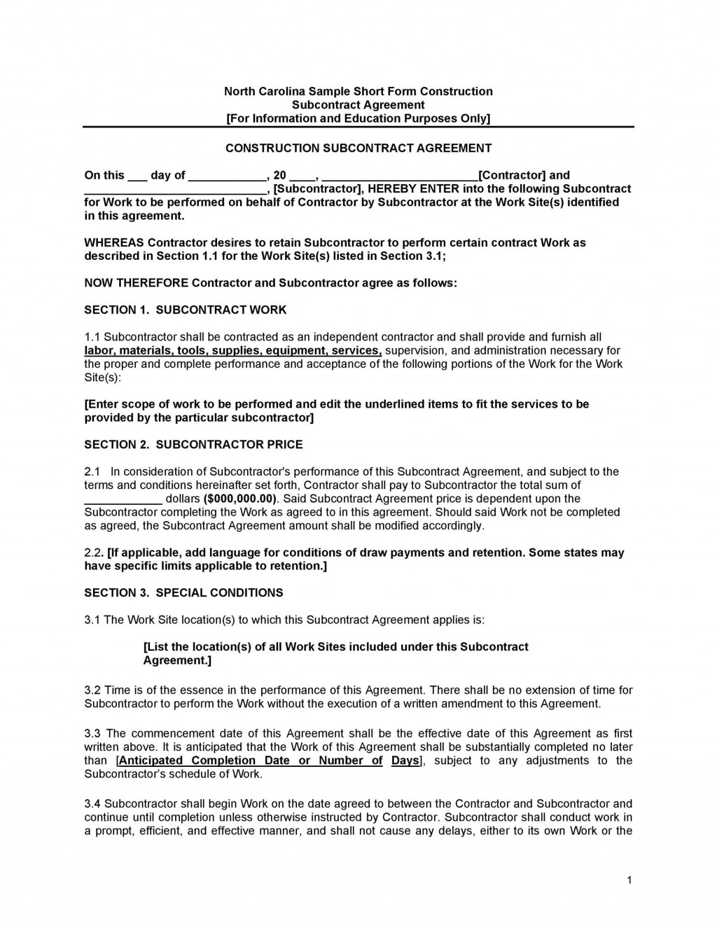006 Formidable Subcontractor Agreement Template Free Highest Quality  Construction WordLarge