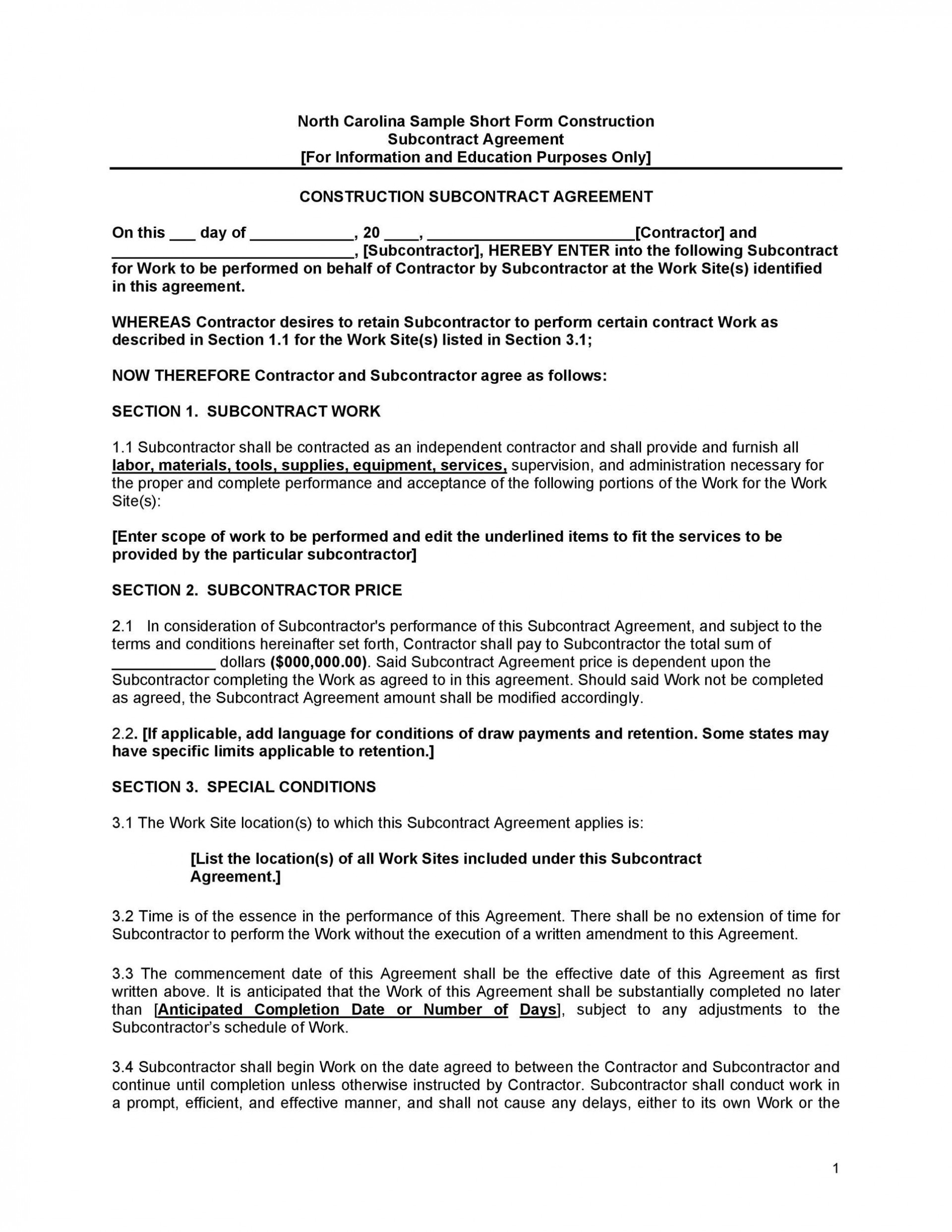 006 Formidable Subcontractor Agreement Template Free Highest Quality  Construction Word1920