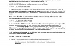 006 Formidable Subcontractor Agreement Template Free Highest Quality  Construction Word