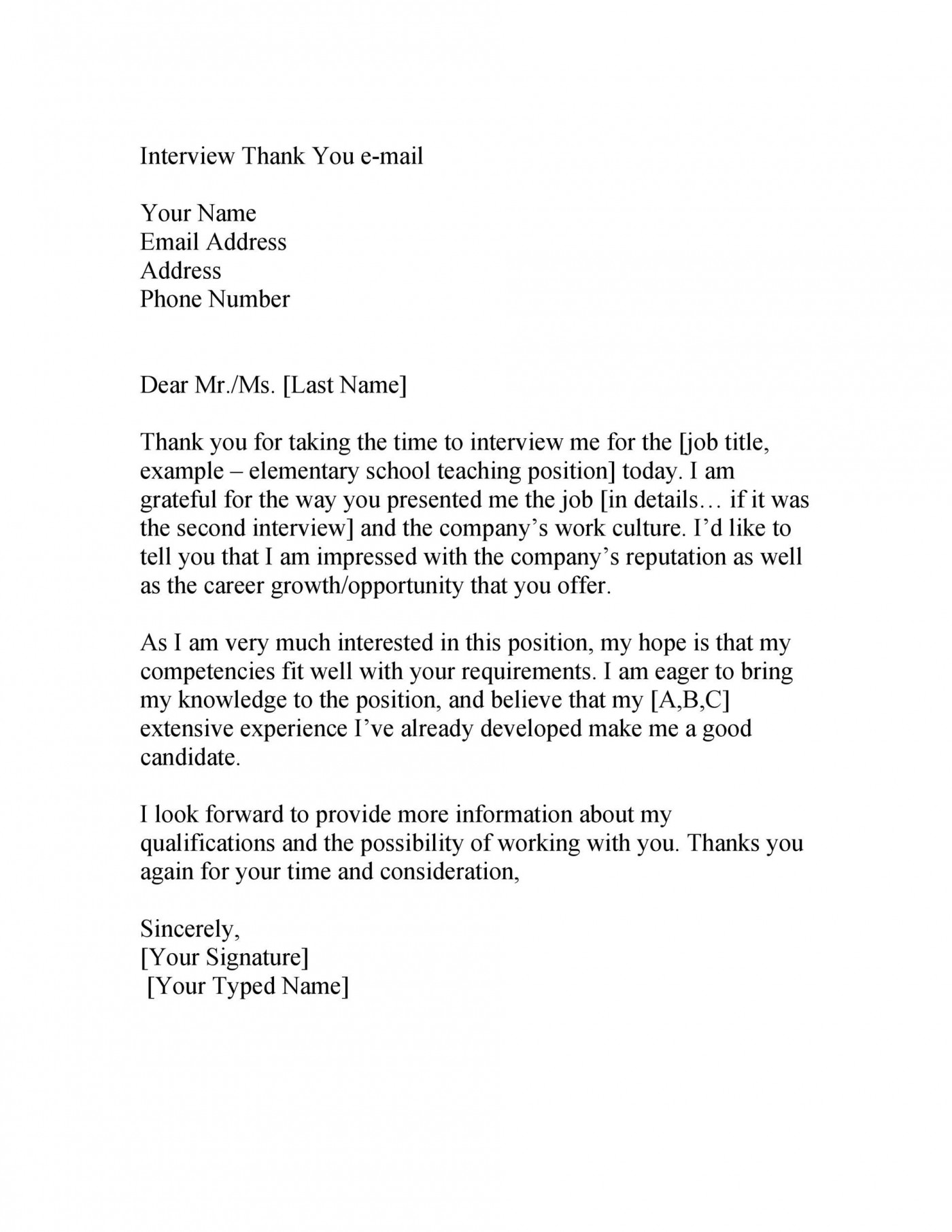 006 Formidable Thank You Note Template For Interview High Resolution  Card Example After Letter Job1400