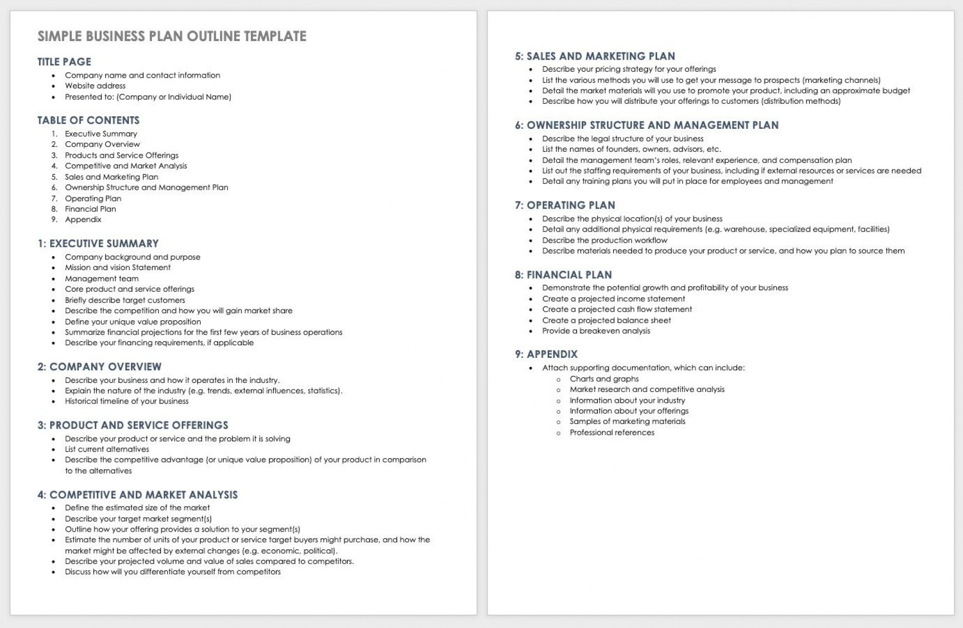 006 Frightening Basic Busines Plan Template Concept  Simple Word Download Easy Free Australia1920