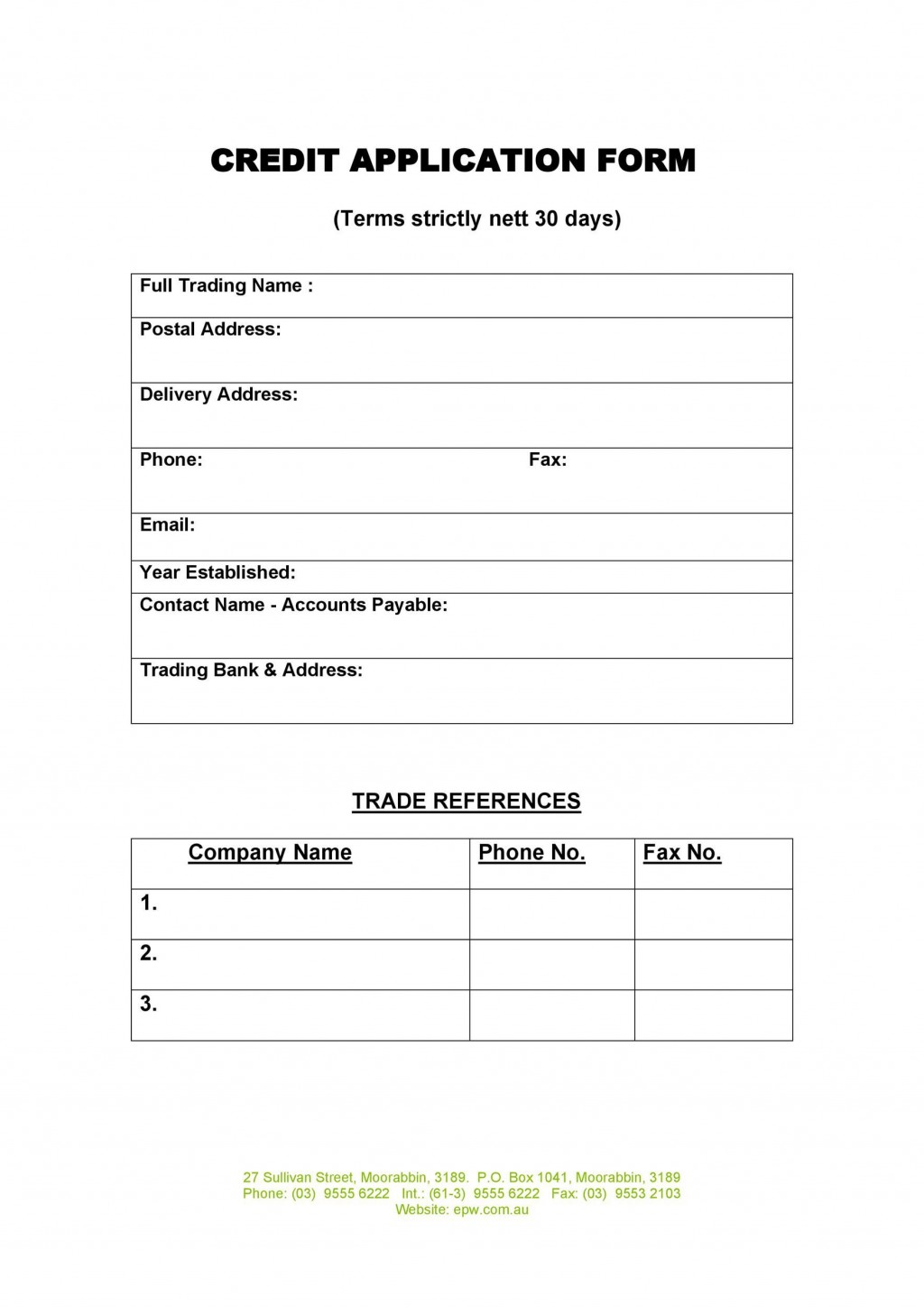 006 Frightening Busines Credit Application Form Template Free Highest Quality  South Africa AustraliaLarge
