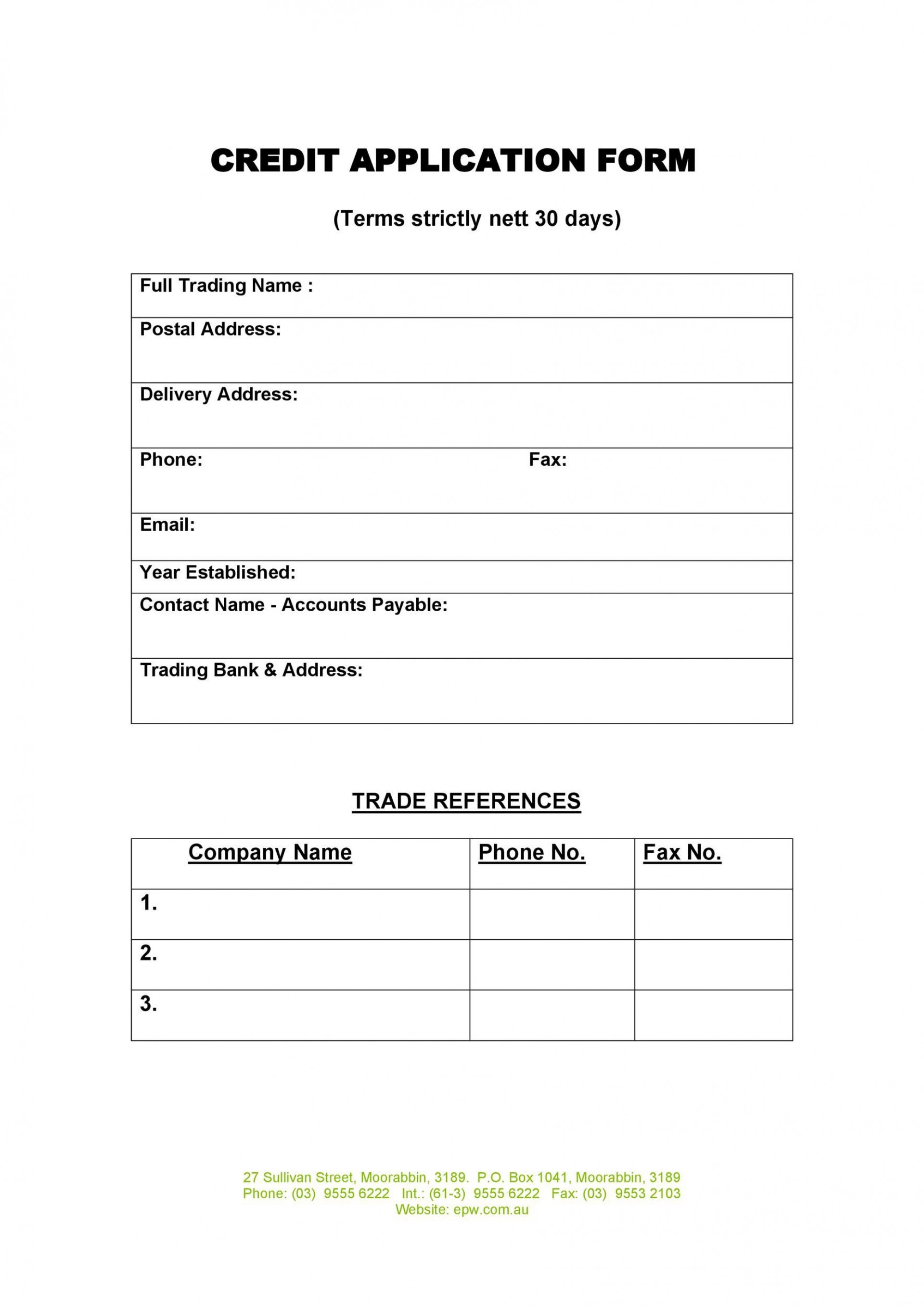 006 Frightening Busines Credit Application Form Template Free Highest Quality  South Africa Australia1920