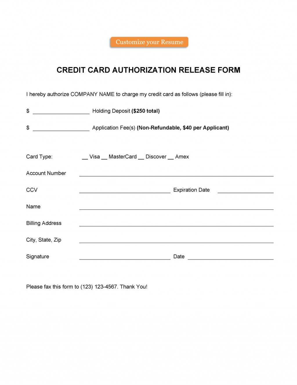 006 Frightening Credit Card Authorization Template Highest Clarity  Form For Travel Agency Free Download Google DocLarge