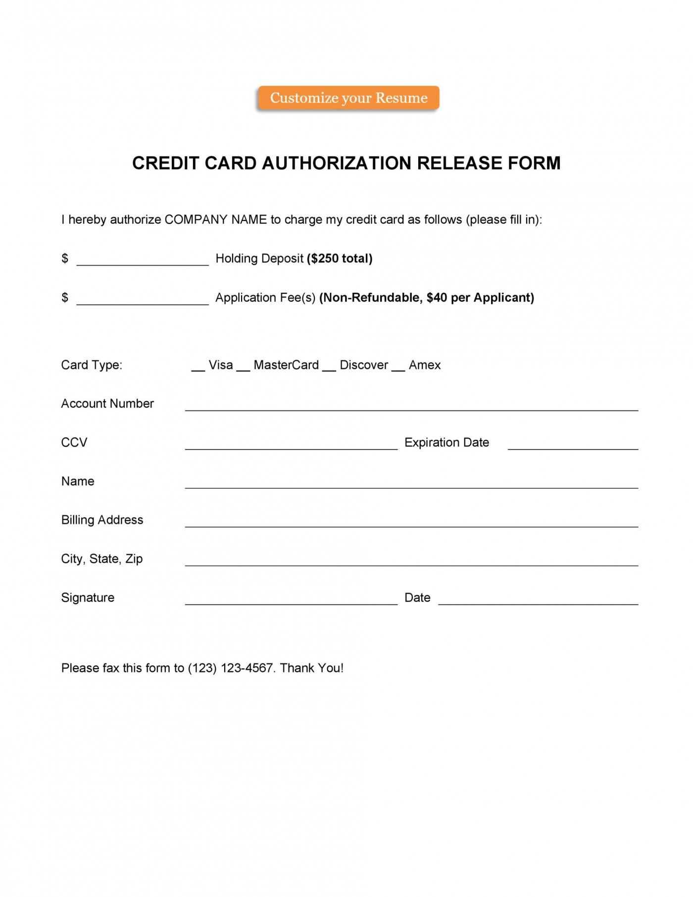006 Frightening Credit Card Authorization Template Highest Clarity  Form For Travel Agency Free Download Google Doc1400