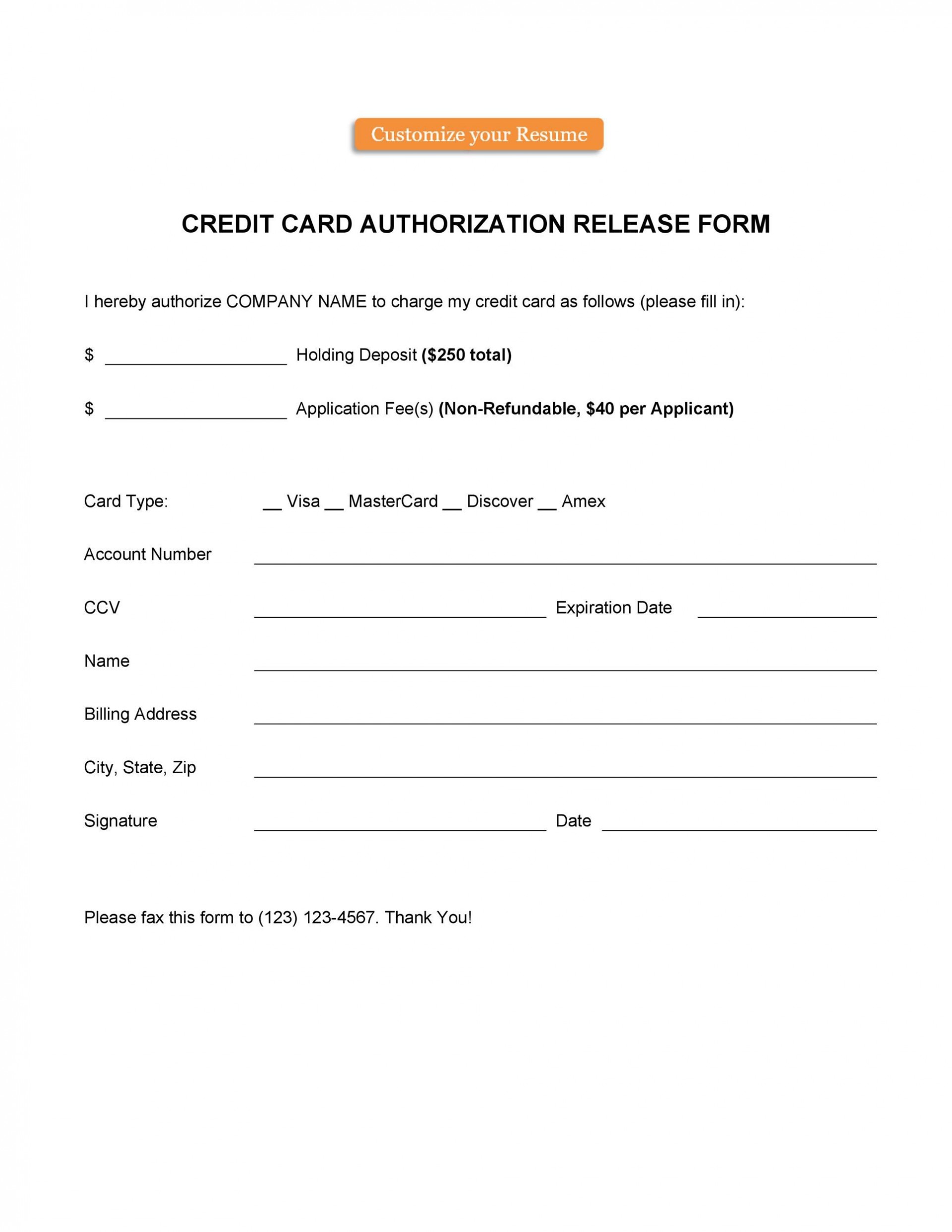 006 Frightening Credit Card Authorization Template Highest Clarity  Form For Travel Agency Free Download Google Doc1920