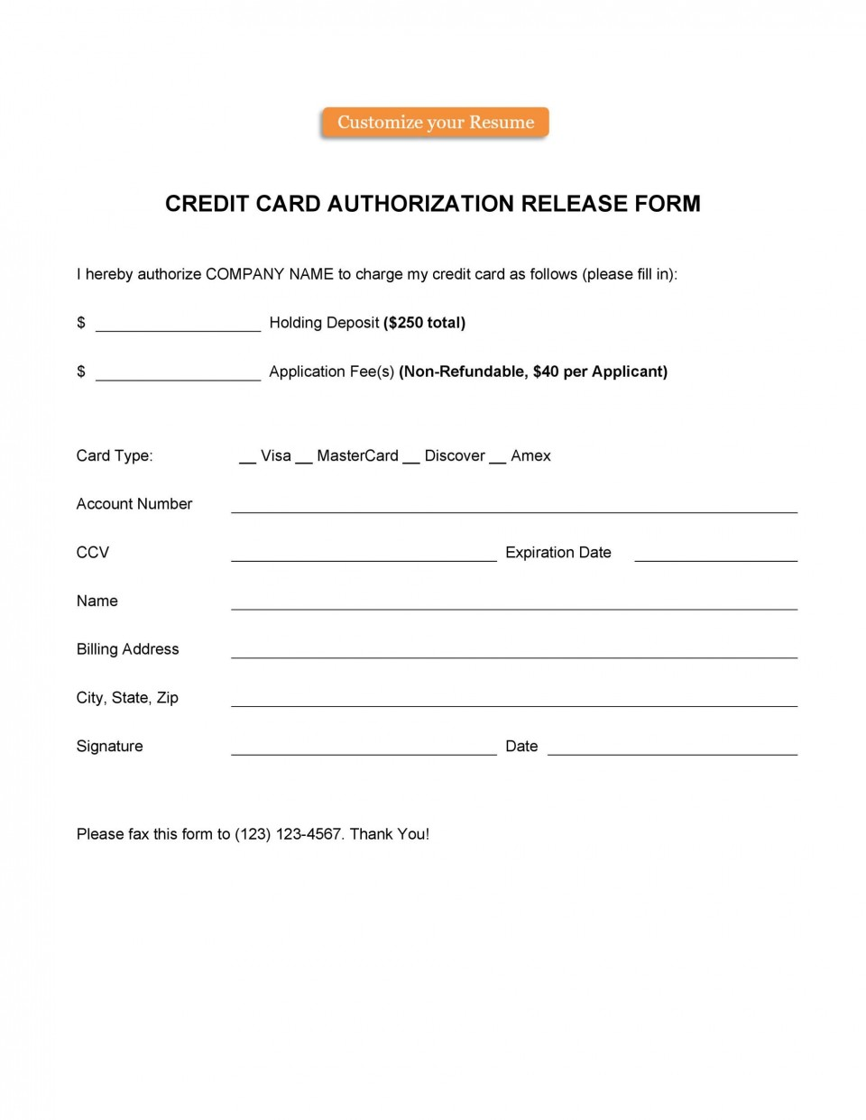 006 Frightening Credit Card Authorization Template Highest Clarity  Form For Travel Agency Free Download Google Doc960