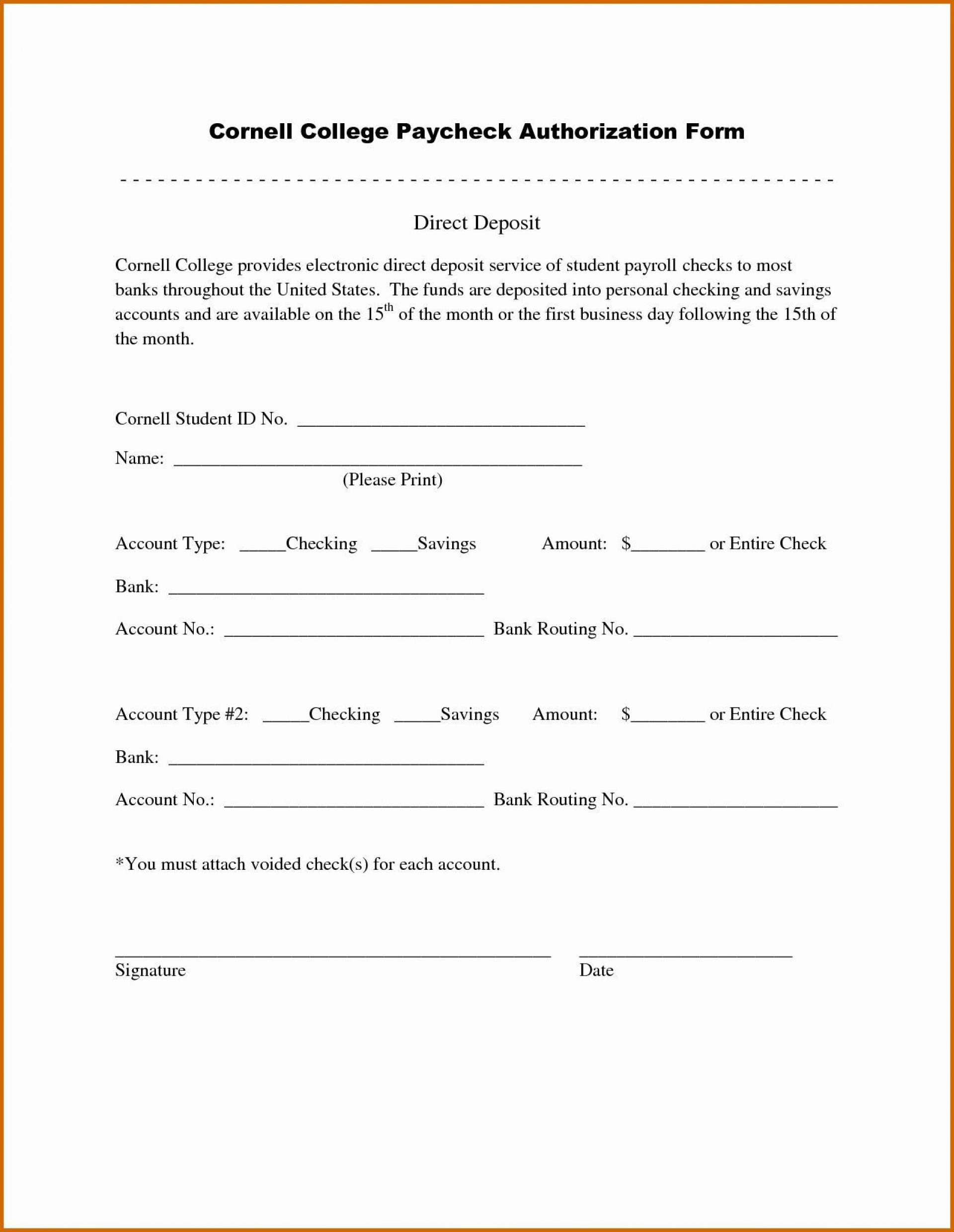 006 Frightening Direct Deposit Cancellation Form Template Idea  Authorization Canada Word Payroll1920